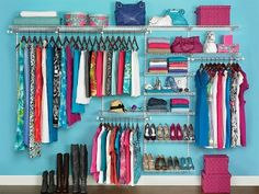 This closet kit from Rubbermaid is perfect for utilizing your closet wall space to organize and store clothes and accessories, plus the paint color behind it is gorgeous! Closet, Shelves, Furniture, Home Decor, Shelving, Homemade Home Decor, Cabinet, Wardrobe Closet, Home Furniture