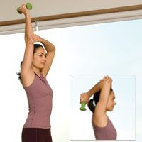 Firm Arms: 2. Stand with feet hip width apart.  Hold 3-5 lb. dumbell in right hand, arm extended straight overhead.  Use left hand to support right elbow.  Bend elbow lowering dumbell behind head.  Then press back to the start.  Do 2 sets of 10 reps, resting 30 seconds between sets. Then repeat with opposite arm.  NOTE:  Prevention.com has alternate exercises for less or more difficultness.