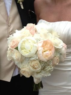 White and Blush Spring Wedding Bouquet - hydrangea, peonies, roses / Julia's Blooms / Twin Cities Wedding Florist, Minneapolis & St. Paul