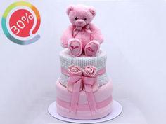 Torta di pannolini bimba Teddy Rosa: per baby shower, nascita e primi mesi | Famideal.it