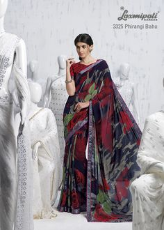 The royal blue, red & multi color saree is appealing a mass of trendy & pretty girls.