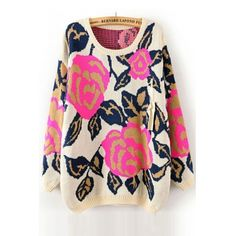 USD9.99Cheap New Style O Neck Long Sleeves Peony Flowers Print Beige Regular Pullover Sweater