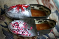 Painted TOMS shoes, Bryant Hom Art, Painted, Custom TOMS, TOMS by Hom, Cherry Blossom TOMS