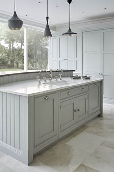 At Tom Howley we are passionate about quality, design and craftsmanship. Our bespoke kitchens are exquisitely designed and made with the finest materials. Vinyl Flooring Kitchen, Kitchen Countertop Materials, Kitchen Tiles, Shaker Kitchen, Concrete Kitchen, Oak Flooring, Flooring Ideas, Penny Flooring, White Flooring