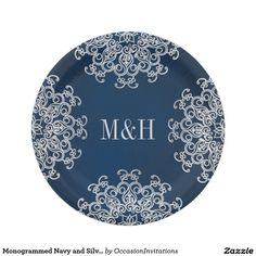 Monogrammed Navy and Silver Indian Style Wedding