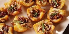 Cranberry Brie Bites -good Xmas party appetizer, gotta find a good cashew cheese to replace the Brie