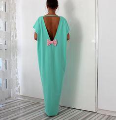Spring Summer 2015 MINT backless elegant maxi dress/Caftan dress/Prom Dress/Evening dress/Party dress/Oversized dress