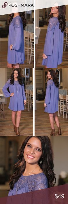 BLUE LACE EMBELLISHED DRESS NWT Embellished Blue Lace gorgeous flowing Dress🔹Fully lined🔹Measurements to come 🔹ON THE WAY🔹Limited Quantities Infinity Raine Dresses
