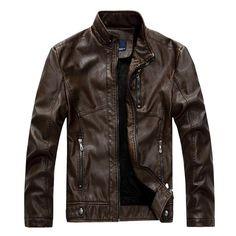The Cafe Jacket Brown Pu Jacket, Men's Leather Jacket, Leather Men, Jacket Men, Leather Jackets, Real Leather, Vintage Leather, Men's Vintage, Black Leather