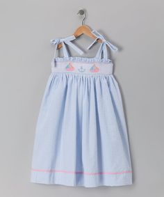 Take a look at this Blue Sailboat Smocked Dress - Toddler & Girls by Sweet Teas Children's Boutique on #zulily today!