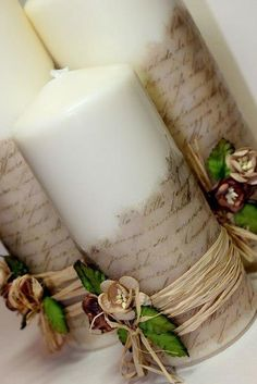 Vintage DIY Candles (not in English but good pictures to go by) Diy Candles, Pillar Candles, Rustic Candles, Blue Candles, Sheet Music Crafts, Christmas Crafts, Christmas Decorations, Candle Decorations, Music Centerpieces