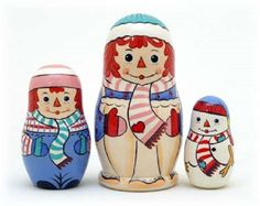 Raggedy Ann and Andy Christmas nesting dolls from Russian