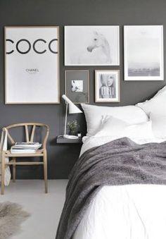 77 Gorgeous Examples of Scandinavian Interior Design Scandinavian-grey-bedroom-with-prints