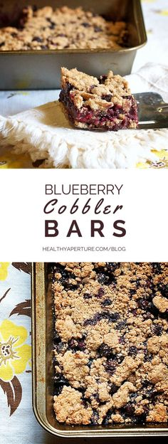 These fruity dessert bar cookies turn family favorite blueberry cobbler into a bite-sized, hand-held treat. Perfect at the peak of blueberry season you could also enjoy them in winter with frozen wild blueberries. Recipe by @ReganJonesRD on HealthyAperture.com.