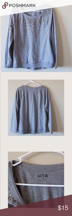 Apt 9 grey sweater with sparkles Apt 9 sweater with jeweled shoulders. No obvious damage seen. 60% cotton 40% polyester. Pit to pit measures as 20 inches when lying flat Apt. 9 Sweaters Crew & Scoop Necks