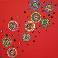 Acryl Leinwand Bild Silberstreif ART Kunst Wandbild bunt rot Kreise abstrakt