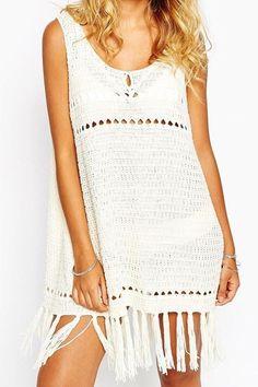 Hollow Sleeveless Crochet Cover-Up Dress #zaful