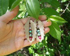 Micro macrame leaves earrings - Nature Leaf Nude