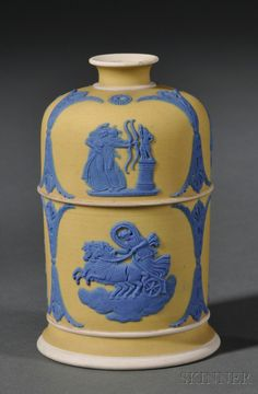 Wedgwood Yellow Jasper Dip Taper/Match Stand, England, late 19th century, applied blue classical figural groups between scrolled foliate frames.