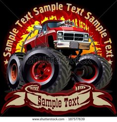 Grunge background with cartoon monster truck. Available EPS-10 vector formats separated by groups and layers for easy edit