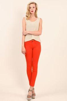 tomato red skinny jeans