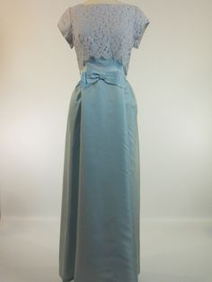 Vintage 60s Gown in Light Blue Satin and Lace Wedding Something Blue by Better Dresses Vintage
