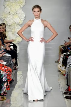 Wedding Gown Theia Fall 2019 Bridal Collection Meghan Markle–inspired halter wedding dress with fit and flare silhouette - Theia's full wedding dress collection for Fall 2019 has arrived—see every bridal look here. Big Wedding Dresses, Wedding Dress Trends, Perfect Wedding Dress, Bridal Dresses, Halter Wedding Gowns, Wedding Dress Sheath, Wedding Dress Petite, Halter Dress Formal, Minimal Wedding Dress