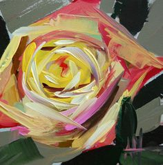 Angela's art is just beautiful!!! Blushing Rose original floral oil painting by Moulton 4 x 4 inches on panel prattcreekart