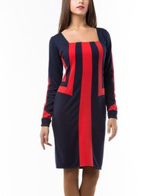 Look at this #zulilyfind! Navy & Red Square-Neck Dress #zulilyfinds