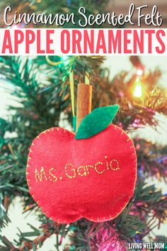 These Felt Apple Ornaments are easy for kids to put together and they have a secret – they're cinnamon-scented! Perfect for a homemade teacher gift, these DIY ornaments are a great craft activity for kids or a first sewing project. Christmas Presents For Teachers, Presents For Kids, Christmas Crafts For Kids, Simple Christmas, Christmas Diy, Christmas Ornaments, Christmas Recipes, Holiday Crafts, Holiday Ideas