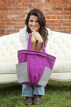 Indygo Junction's Brooklyn Bag pattern ($11.99) in purple and grey Crossroads Denim. Love the stitching on the pockets!