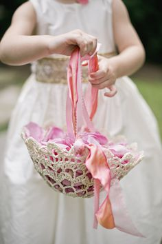 sweet crocheted flower girl basket with pink petals | Harwell Photography #wedding