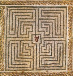 Minotaur in Labyrinth, Roman mosaic at Conímbriga, Portugal.