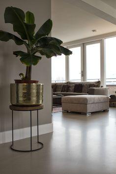 Beige Gietvloer in Combinatie met natuurlijke huisdecoratie | Motion Gietvloeren  #gietvloer #gietvloeren #betonlook #woonbeton #vloer #vloeren #interior #interieur #design #huisdecoratie
