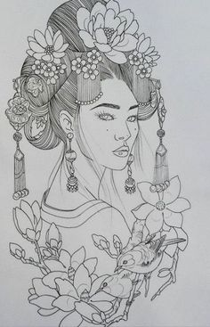 Greatest drawing tattoo design stencil Concepts Supply by Japanese Sleeve Tattoos, Geisha, Drawings, Geisha Tattoo Design, Japanese Dragon Tattoos, Sleeve Tattoos, Tattoo Drawings, Tattoo Designs, Cool Drawings