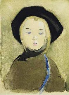 Helene Schjerfbeck Sininauhainen tyttö, 1909, vesiväri, guassi ja pastelli paperille