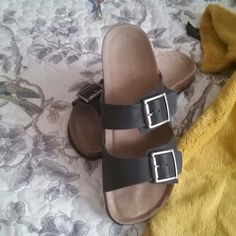Sandals Madden girl slip on sandals in black silver buckle worn once in perfect condition ! Madden Girl Shoes Sandals