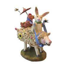 Paper Mache Animals Bunny Rabbit Chicken Sheep by Tyler Humphreys of tylersworkshop, $80.00