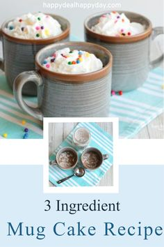 Easiest 3 ingredient mug cake recipe in the world! Add the dry ingredients to a mason jar and you can make the chocolate mug cake in 1 minute. Great gift idea! #3ingredientmugcake #mugcake #chocolatemugcake #mugcakerecipe #mugcakemixinajar, #masonjargift #easycakemix #masonjarrecipe Frugal Recipes, Mug Recipes, Frugal Meals, Dessert Recipes, Homemade Christmas Gifts, Homemade Gifts, Diy Gifts, 16 Oz Mason Jars, Mason Jar Gifts
