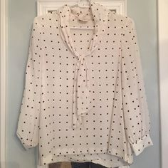 Beautiful Kate Spade Blouse Super cute and fun blouse! Authentic Kate Spade brand. Perfect condition except for the small signs of wear in the 3rd picture and small hem problem in the bottom of the first picture. Cream color with small maroon squares and tie in front. kate spade Tops Blouses
