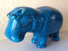 Blue William the Hippo Hippopotamus Figurine by JustMidCentury