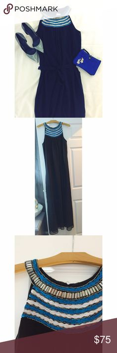 """Black Chiffon Maxi Dress Stunning black chiffon gown brand new without tags! I purchased to wear to a wedding and never did as it is too large for me. It is sized medium however it runs extremely large. Would best fit size 12/L. 61"""" from top of shoulder to bottom hem. Comes with chiffon belt. Purchased from Piperlime. Sabine Dresses Maxi"""