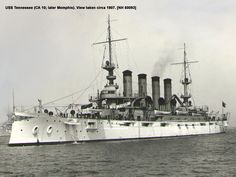 USS Tennessee (ACR 10), 1907; later renamed Memphis (CA 10)//armored cruiser, lead ship of her class, wrecked in 1916, sold for scrap 1922