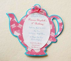 Alice in Wonderland Invite - Teapot Invitation 80 Birthday, Tea Party Birthday, Baby Party, Birthday Ideas, Mad Hatter Tea, Mad Hatters, Diy Invitations, Invitation Cards, Cute Thank You Cards