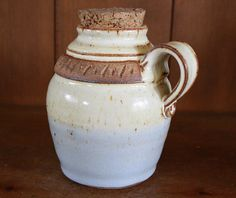Rustic White Speckled Sky Blue Wheel Thrown Moonshine by KJPottery, $37.00