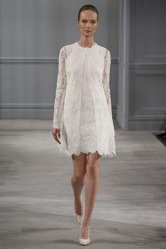 1960 shift style lace dress | Monique Lhuillier #Bridal Spring Summer 2014