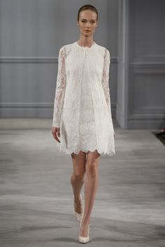 1960 shift style lace dress   Monique Lhuillier #Bridal Spring Summer 2014