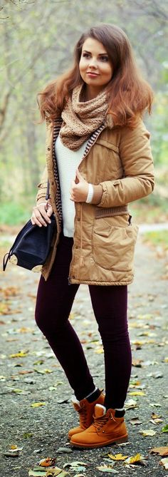 Daily New Fashion : Casual Fall Outfit Camel Parka Codzienny.