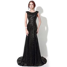 Formal Evening Dress - Black Plus Sizes / Petite Sheath/Column Bateau Floor-length / Chapel Train – CAD $ 138.43