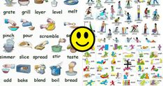 'Verbs' Pictionary: Cooking Verbs, Verbs of Body Movement, Action Verbs English Verbs, Spanish English, English Phrases, English Vocabulary, Learn English, Learning The Alphabet, Learning Spanish, Animals Name In English, Visual Dictionary